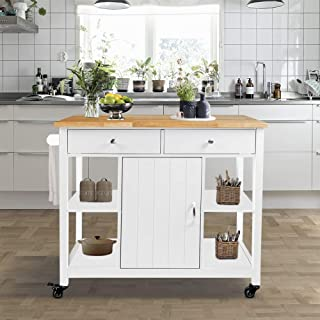ChooChoo Kitchen Cart on Wheels with Wood Top, Utility Wood Kitchen Islands with Storage and Drawers, Easy Assembly - White