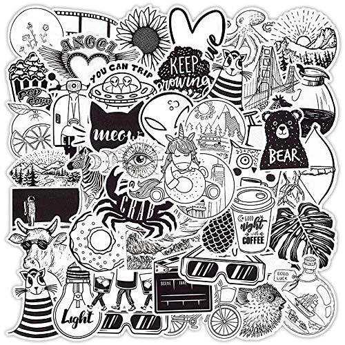 LSPLSP Pegatina Vsco en Blanco y Negro Anime Lindo Graffiti Pegatinas Divertidas para niños Impermeable DIY portátil Maleta Coche calcomanía 50 Uds