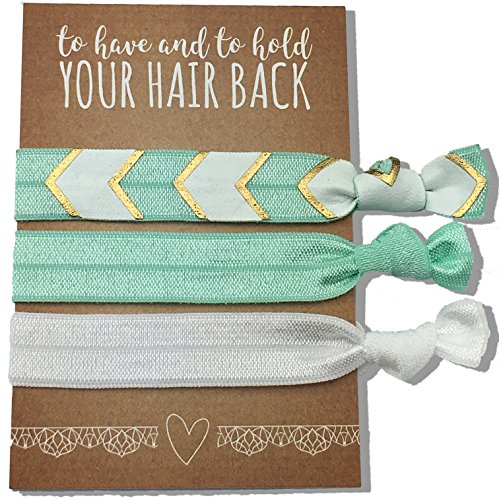 Jeune Marie 6 Pack Mint Ribbon Hair Ties KIT No Crease Elastics Handtied Ouchless Ponytail...