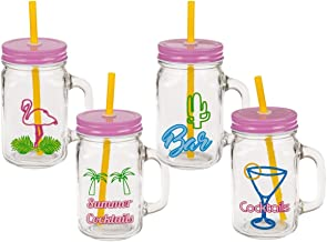 Trinkgläser Retro Summer mit Deckel und Strohhalm, 450 ml, Maße je Glas: 13,5 x 7 x 7 cm, 6er-Set. 4 Motive/Farbkombinationen: Flamingo, Martini-Glas, Kaktus, Palmen. Bieten Schutz vor Insekten.