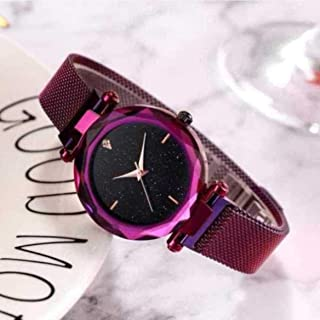 Acnos Hours 3,6,9 Represents Line and 12 Represent Diamond Purple 21st Century Magnet Analog Watch for Girls and Women(MGNT-Purple)