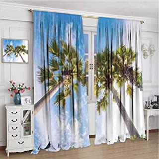 Blackout Curtains for Bedroom W84 x L96 Inch,rod pocket drapes Thermal Insulated Panels home décor,Nature,Palm Tree at Phromthep Cape,Phuket,Thailand With Summer Sky View Holiday Picture,Blue Green