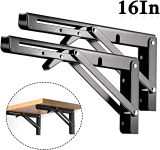 Folding Shelf Brackets - Heavy Duty Metal Collapsible Shelf Bracket for Bench Table, Shelf Hinge Wall Mounted Space Saving DIY Bracket, Max Load: 150 lb 2 PCS (16 Inch, Black)