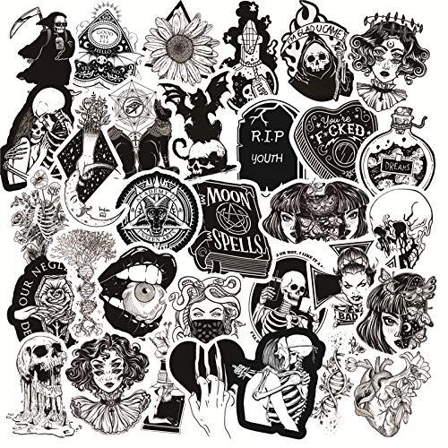 50 Pcs Black and White Gothic Style Girl and Skull Stickers Graffiti Sticker for Laptop Luggage Car Styling Guitar LD 2020