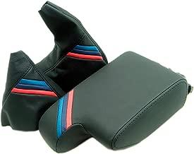 Autoguru BMW E36 Center Console Armrest & Boot Set Synthetic Leather Cover Black, M Style Stripes for 92-99