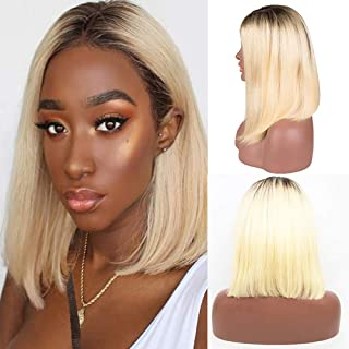 Short Ombre Blonde Lace Front Wig Human Hair Bob Pre Plucked Brazilian Dark Roots 1B 613 Human Hair Two Tone Straight Glueless Lace Bob Wigs with Baby Hair for Women 14 Inch