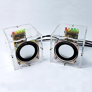 KKmoon Gran música sonido amplificador electrónica DIY Kit Mini altavoz transparente notable caja DIY Suite