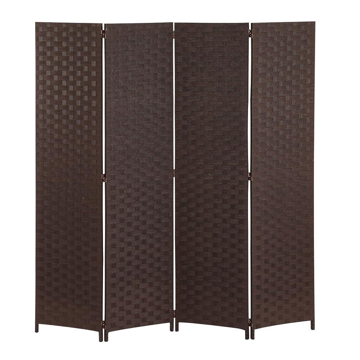 けがをする販売計画ギネスぼん家具 衝立 パーテーション 4連 高さ174cm 間仕切り スクリーン おしゃれ ブラウン