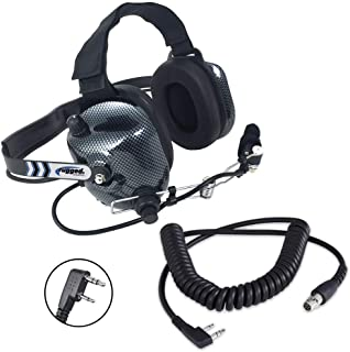 Rugged Radios H41-CF Carbon Fiber Style Behind The Head Two Way Radio Headset with CC-Ken Coil Cord Cable for 2-Pin Radios