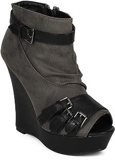 Women Leatherette Peep Toe Buckle Decor Zipper Platform Wedge Bootie - AI82