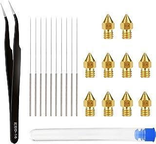 figatia Kit de bocais de latão MK8 com 10 acessórios de limpeza de agulhas de aço inoxidável para impressora 3D CR-10