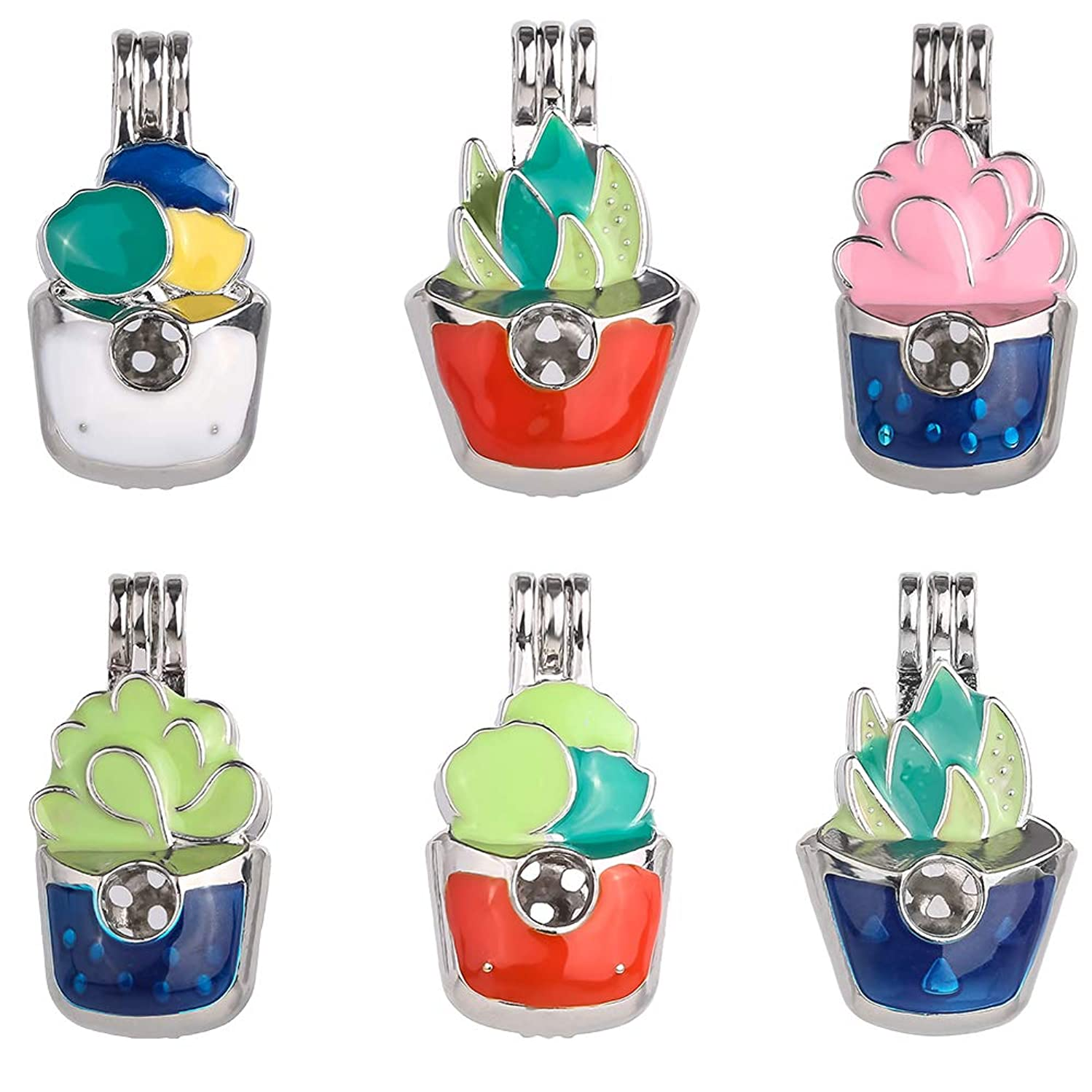 12pcs Mixed New Enamel Process Potted Style Pearl Bead Cage Pendant Essential Oil Scent Diffuser Pendant Necklace Jewelry Making Supplies
