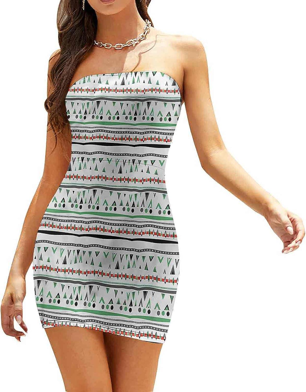 Women's Strapless Bodycon Club Dress Aztec Tribal Feahers Dresses