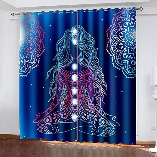 NuAnYI Cortina Opaca - Yoga Niña Patrón Azul Drapeados Ventana Salon Paneles con Ollaos/Telas Termicas Aislantes Frio Calor, 2 Pieza Cortinas Opacas De Fibra De Poliéster 298x180CM
