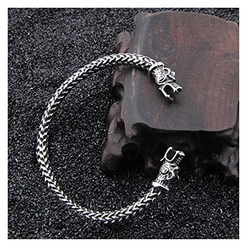 Depruies Cartier, Pulsera del dragón de la cabeza doble de los hombres, bolsa de regalo del brazalete nórdico de los hombres del dragón nórdico de los hombres, Splitter de oro de acero inoxidable Nors