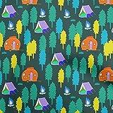 oneOone Seidenstoff, getigert, Blaugrün, für Camping,