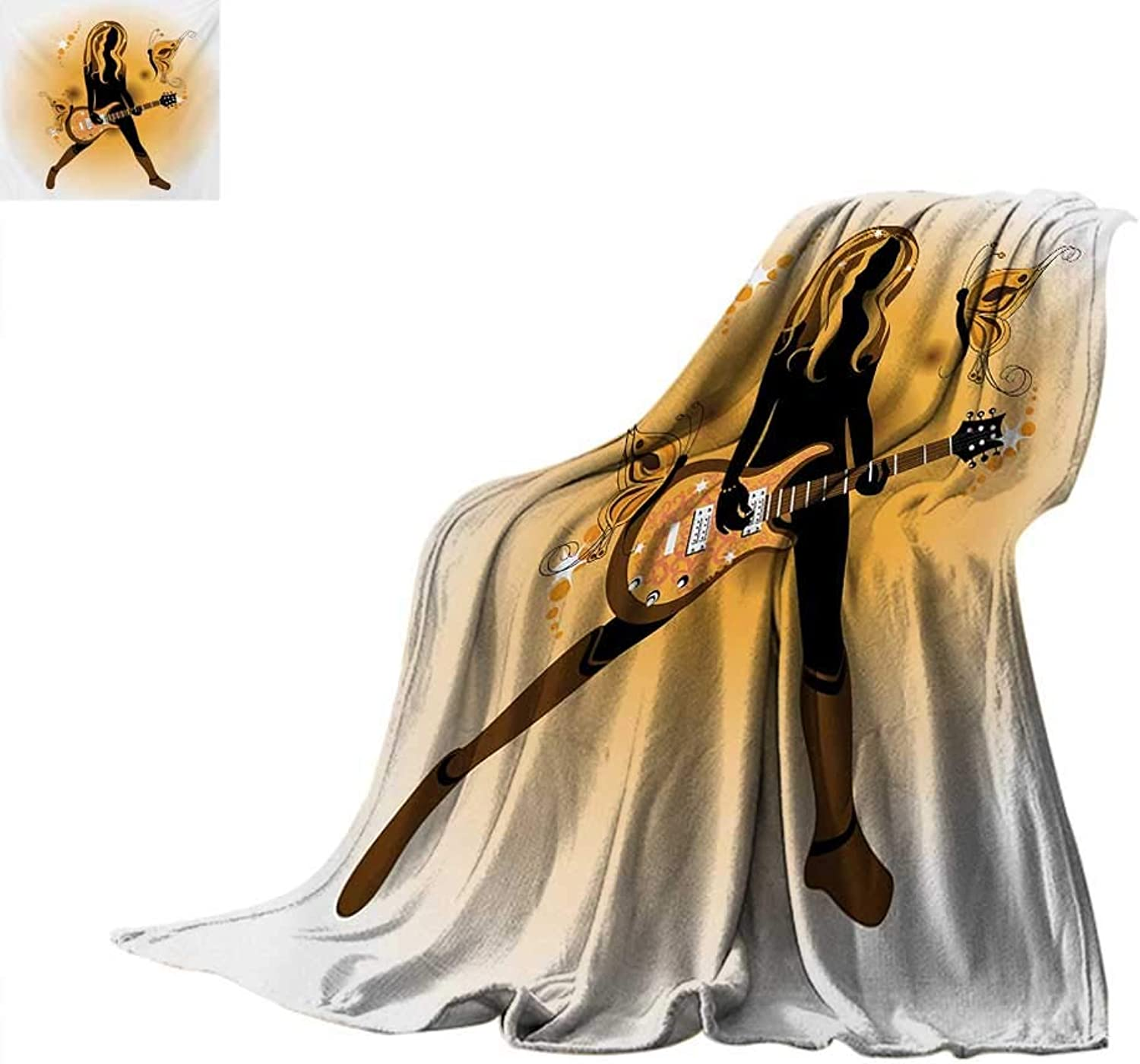 Popstar Party Digital Printing Blanket Girl Silhouette with Hairstyle and Butterflies Playing Guitar Digital Printing Blanket 60 x50  orange Brown Dark Brown