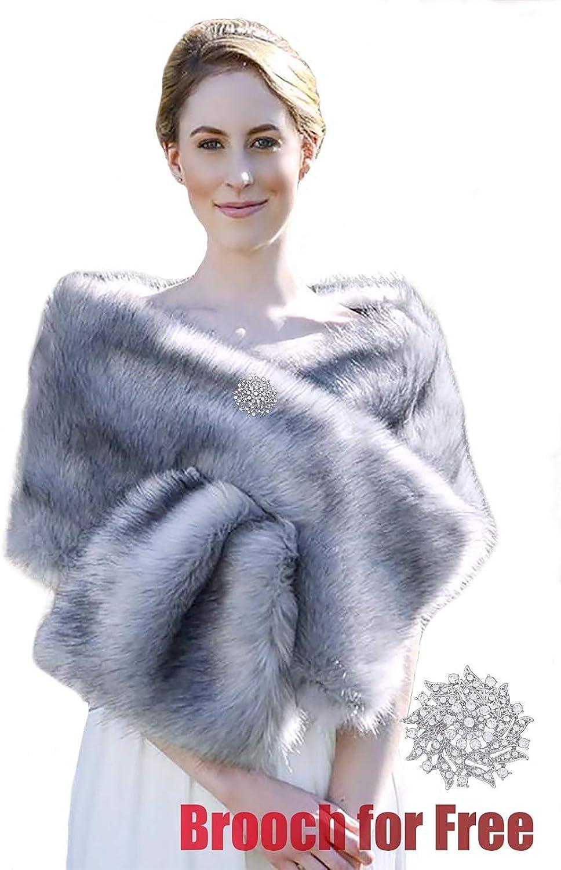 Drecode Women's Wedding Faux Fur Shawl Wrap Winter Fur Stole Fur Scarf for Women and Girls