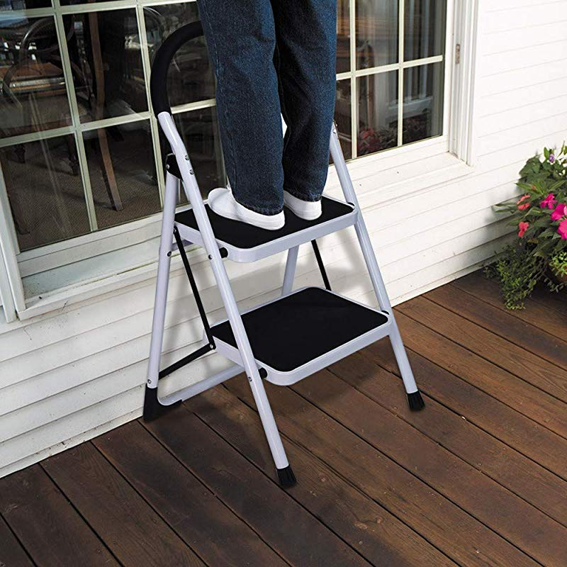 Peigen Step Ladder Folding Ladder Step Stool 2nd Stage Folding Step Stool Steel Ladder With Handle Anti Slip Solid Wide Pedal