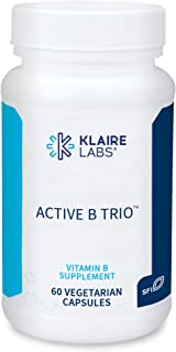 Klaire Labs Active B Trio - B12 as Methylcobalamin, Metafolin Folate L-5-MTHF & B6 as P-5-P in Small, Easy Swallow Pills (60 Capsules)