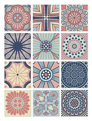 Panorama Azulejos Adhesivos Cocina Baño Pack de 24 Baldosas de 20x20cm Hidráulico Multicolor - Vinilos Cocina Azulejos - Revestimiento de Paredes - Cenefas Azulejos Adhesivas