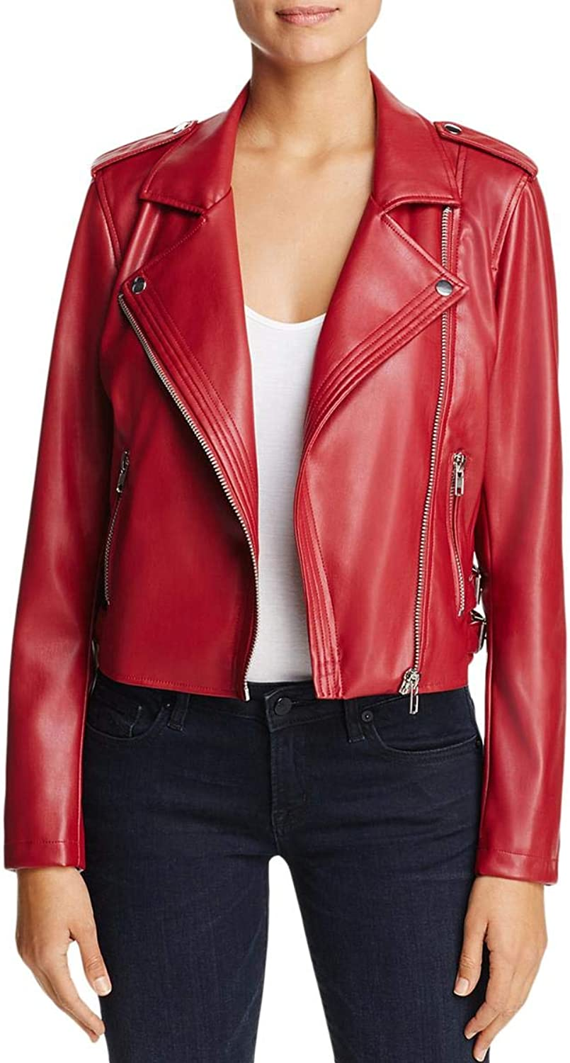 Bagatelle Womens Winter Faux Leather Motorcycle Jacket