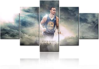 Golden State Warriors Wall Art Pictures Stephen Curry Wall Decor 5 Pcs Canvas Prints NBA Sports Basketball Poster Frame Painting Dining Room Home Bedroom Decorations Artwork Ready to Hang -60''Wx32''H