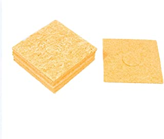 Aexit Replacement (Electrical equipment) 57mm x 57mm x 1.5mm Soldering Iron Cleaning Sponge Pad (63ry884qf17) Yellow 10Pcs