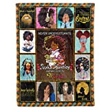 Personalized Custom Name Birth Month African American Queen Afro Girl Magic Black Woman Birthday Christmas Fleece Sherpa Blanket Bed Throw Size Tapestry Wall Hanging