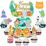 41 Stück Tier Dschungel geburtstagsdeko jungen Deko, Kuchendeckel Cupcake Toppers, Zoo Geburtstag Dschungeltiere Tortenstecker Tier Kuchen Torte Muffin Dekoration für Kinder Baby Party Kuchen Supplies