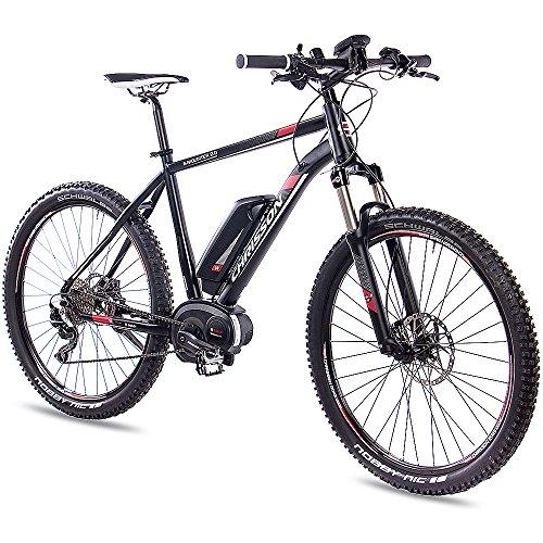 CHRISSON 27,5 Zoll E-Bike Mountainbike Bosch - E-Mounter 2.0 schwarz 44cm - Elektrofahrrad, Pedelec für Damen und Herren mit Bosch Motor Performance Line 250W, 63Nm - Intuvia Computer und 4 Fahrmodi