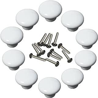 Yahead 10pcs Vintage Ceramic Door Knob Round Shape Locker Pull Handles Drawer Cupboard Cabinet Knobs Wardrobe Home Kitchen Hardware White