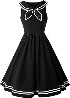 0d358aedfce Ez-sofei Women s Vintage 1950s Navy Collar Sailor Uniform Cocktail Swing  Dress