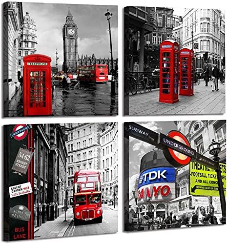 4 piezas de arquitectura moderna en blanco y negro lienzo arte de la pared pintura arte libro grande y cabina de teléfono roja imagen decoración sala de estar50x50 cm sin marco