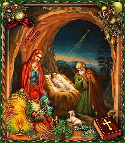 ZXXGA Pintura Diamante 5D Kit_El Nacimiento de Jesus Diamond Painting 40x50cm_Cristal Diamantes de imitación Imagen Artesanía Regalo de San Valentín