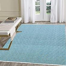 Pauwer - Alfombra de algodón reversible y lavable a máquina para interiores y exteriores, tejida a mano, para sala de estar, dormitorio, lavadero, entrada, etc.