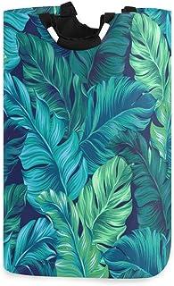 Mnsruu Panier à linge pliable avec poignées Motif feuilles tropicales Turquoise