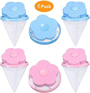 PIVBY Dog Cat Pet Fur Remover Hair Catcher Reusable Washing Machine Floating Lint Mesh Bag Portable Washer Lint Catcher, Hair Filter Net Pouch 6 Pieces (Blue & Pink)
