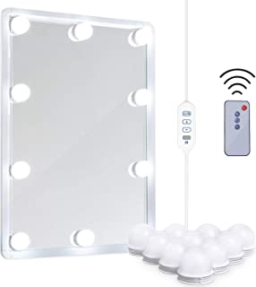 LED Vanity Mirror Lights Kit - MRah Remote Controlled Makeup Mirror Lighting Fixture with 2 Color Modes, 10 Dimmable Bulbs for Vanity Table Set, Bathroom Mirror (Mirror Not Included)