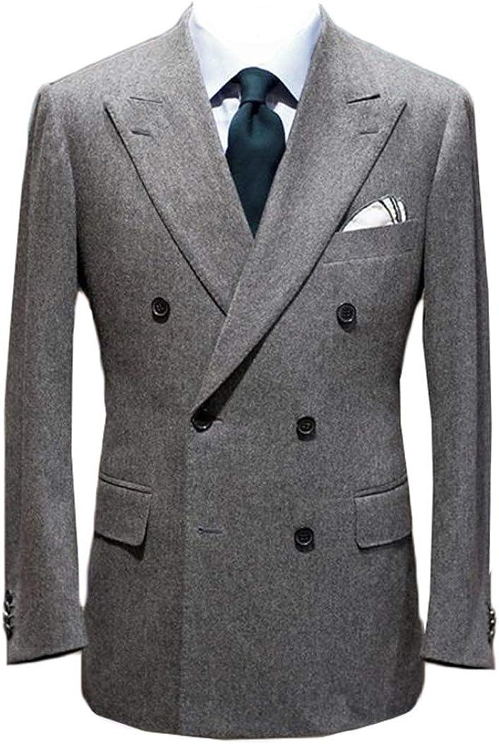 Men's Formal Suit Blazer Double Breasted Peaked Lapel Wool Blend Tuxedo Jacket