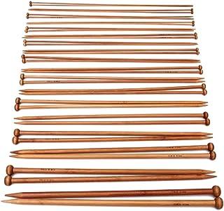 Healifty Lot de 36 aiguilles à tricoter en bambou à pointe unique, longues aiguilles droites pour débutants