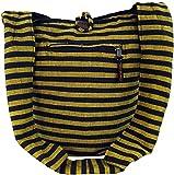 GURU SHOP Bolsa Sadhu a Rayas, Bolsa Goa, Bolsa de Hombro - Amarillo/negro, Unisex - Adultos, Algodón, Tama�o:One Size, 40x35x25 cm, Bolsas de Hombro