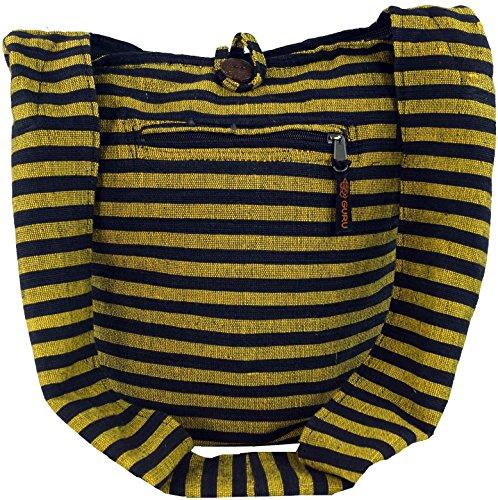 GURU SHOP Sadhu Bag Gestreift, Goa Tasche, Schulterbeutel - Gelb/schwarz, Herren/Damen, Baumwolle, Size:One Size, 40x35x25 cm, Bunter Stoffbeutel