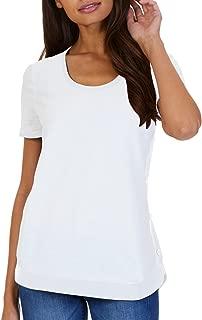 Nautica Women's High-Low Hem Button Detail Short Sleeve Tee (Bright White, XXL)