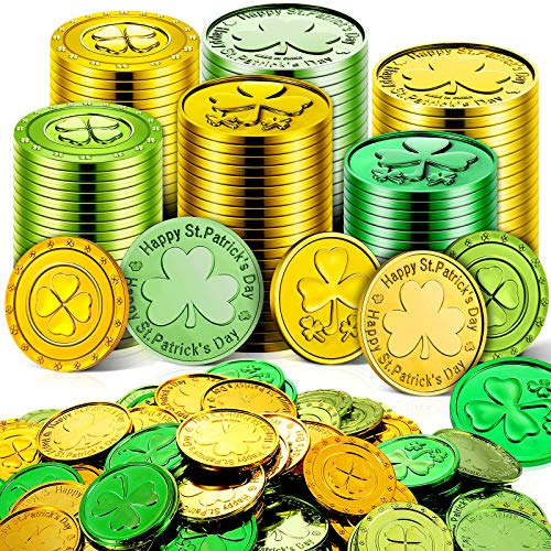 260 Pieces St. Patrick's Day Shamrock Coins 3-Leaf Clover, 4 Leaf Clover Coins and Happy St. Patrick's Day Coins Good Luck Coins Green and Gold Plastic Coins for Party Supplies St. Patrick's Day Decor