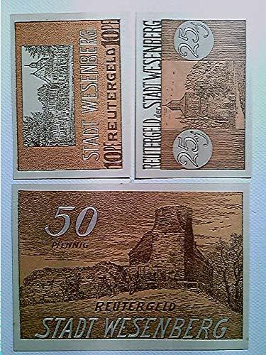 Notgeld, Stadt Wesenberg, Reutergeld, 10/25/50 Pfennig, 1921