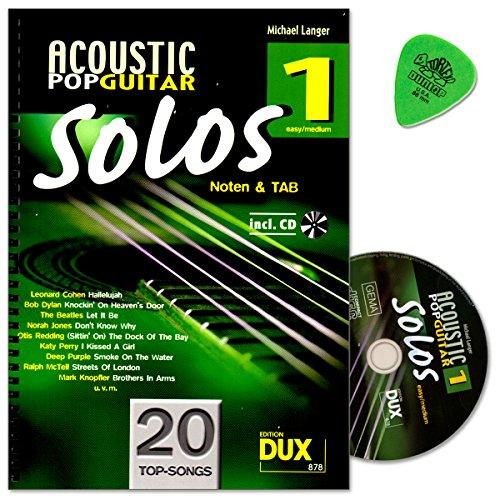Acoustic Pop Guitar Solos Band 1 - Songs für Gitarre solo arrangiert - Autor: Michael Langer - Noten a TAB mit CD und Dunlop Plek - DUX878 9783868491876