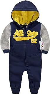 Vine, tutina con cappuccio, per neonato, in cotone, a maniche lunghe, con cerniera C-Blue 66 / 1-6 Months