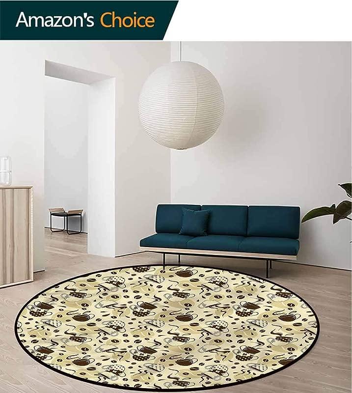 RUGSMAT Modern Round Rugs For Bedroom Brown Coffee Cups Floor Mat Home Decor Diameter 24