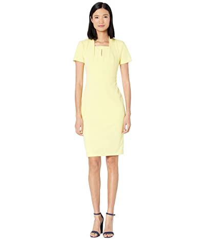Calvin Klein Short Sleeve Sheath Dress with Keyhole (Popcorn) Women